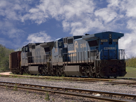 pensacola: A Conrail 7319 train engine sitting at the train yard in Pensacola, Florida Editorial