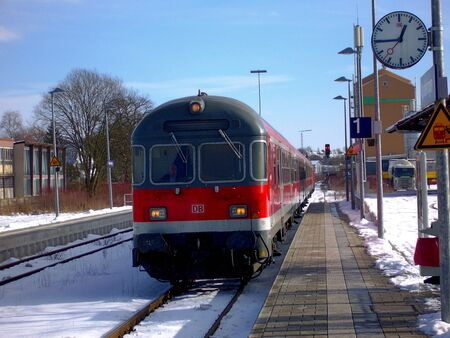 bayern old town: A regional express train arriving at the train station in the town of Munderkingen in Baden-Wrttemberg in Germany