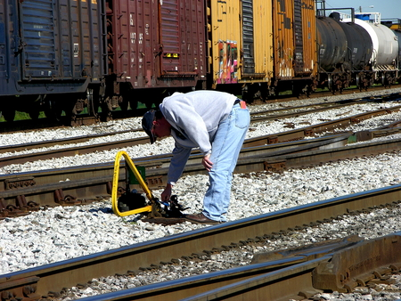 A switchman at work at a train yard in Pensacola, Florida