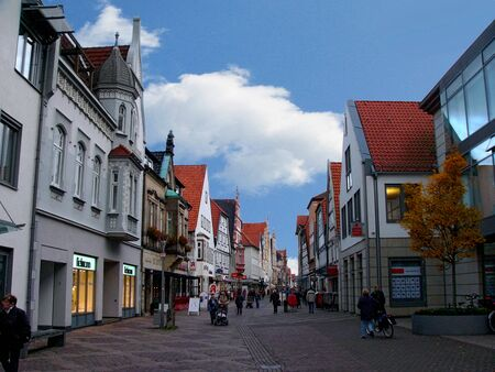 rhine westphalia: A street scene in the town of Lemgo, North Rhine Westphalia, Germany,