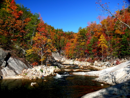 hardwoods: Autumn scene at Wilson Creek, a popular kayaking and trout fishing stream near the community of Collettsville, North Carolina Stock Photo