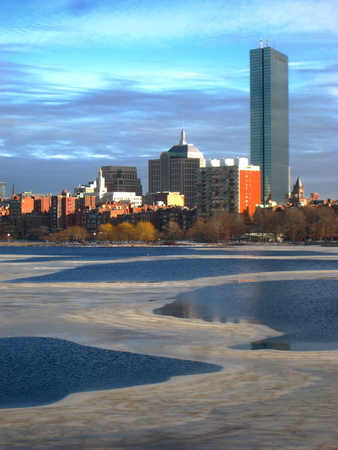 prudential: Charles River in winter - Boston, Massachusetts