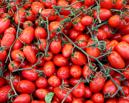 italy: A display of plum tomatoes at an outdoor market in Genoa, Italy. Stock Photo