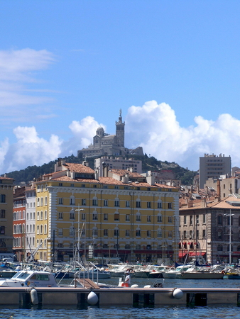 old port: View of Our Lady of the Guard from the Old Port, Marseille, France