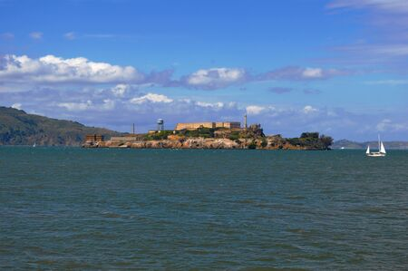 alcatraz: A view of Alcatraz Island in San Francisco Bay, California Stock Photo
