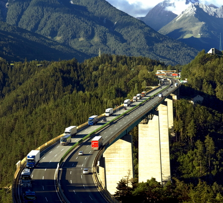 The Brenner Autobahn is a relatively short stretch of autobahn in Austria linking the city of Innsbruck to the Italian border. The motorway passes over the Europabrcke or Europes bridge above the Sill River, forming part of the main route from Austria to