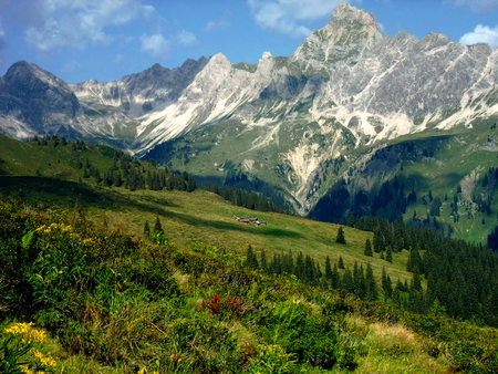View of the Montafon Valley and the Zimba Mountains situated in the westernmost federal state Vorarlberg of Austria