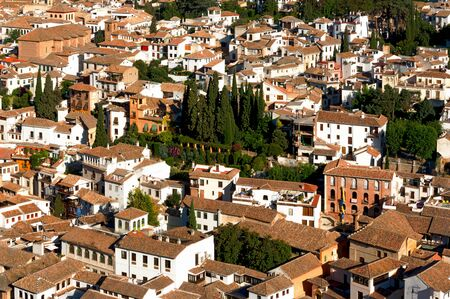 renowned: View of the old neighborhood of Albayzin in the town of Andalusia, Spain. The town is renowned for its narrow winding streets. It was declared a world heritage site in 1984