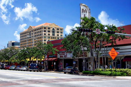 gables: View of downtown Coral Gables and the Miracle Theater on Miracle Mile - Coral Gables, Florida