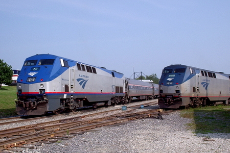 Two Downeaster trains at the Portland Transportation Center in Maine