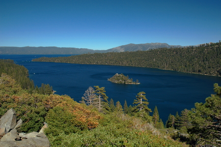 fannette: Scenic view of Emerald Bay and Fannette Island, Lake Tahoe, California