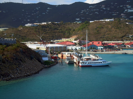 thomas: View of ships docked in St. Thomas Harbor, Caribbean