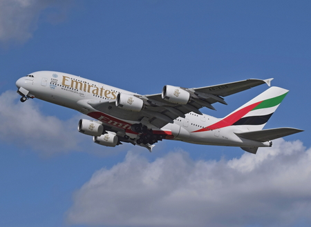 airbus: An Emirates Airbus flying high in the sky