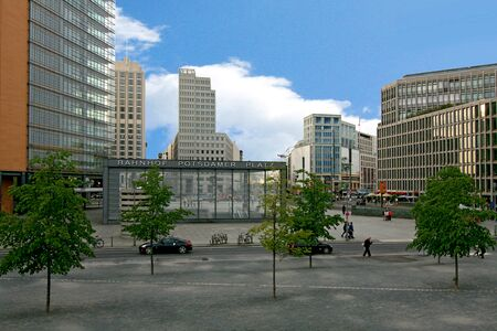platz: A view of Potsdamer Platz and busy intersection in the center of Berlin, Germany Editorial