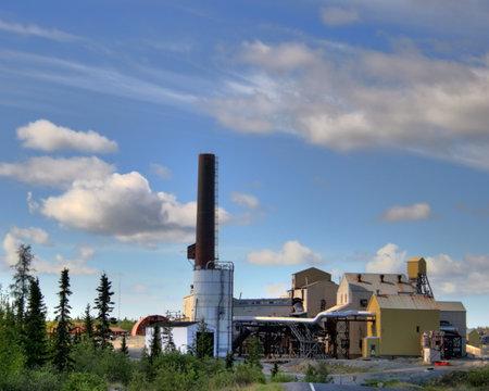 거대한 광산, Yellowknife, 노스 웨스트 준주, 캐나다의 사이트에 건물 중 몇 에디토리얼