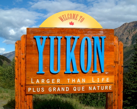yukon: Close-up of a Yukon welcome sign in the Yukon Territory of Canada Editorial