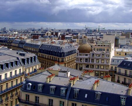 rooftops: Aerial view of rooftops in Paris, France