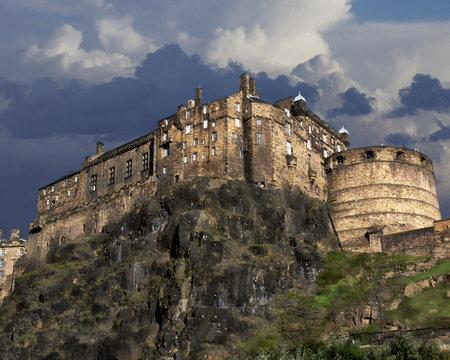 Edinburgh Castle is a historic fortress which dominates the skyline of the city of Edinburgh, Scotland
