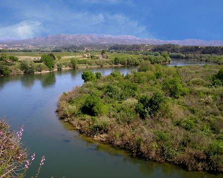 View of the Ebre River in Miravet, Spain