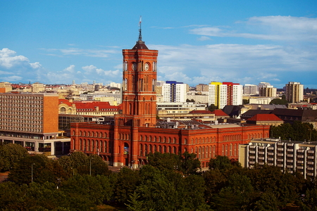 View of the Rotes Rathaus (Red City Hall) in Berlin, Germany Stock Photo