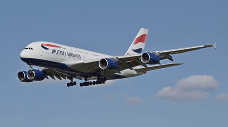 A British Airways Airbus A380 high above in the sky
