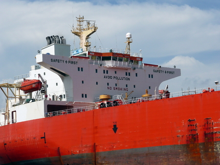 Close-up of an offshore supply ship docked at the Port of Pensacola Stock Photo