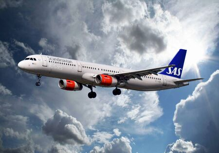 View of an SAS Scandinavian Airlines Airbus  passenger plane up in the sky