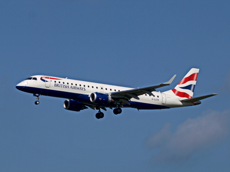 View of a British Airways passenger plane up in the sky Stock Photo
