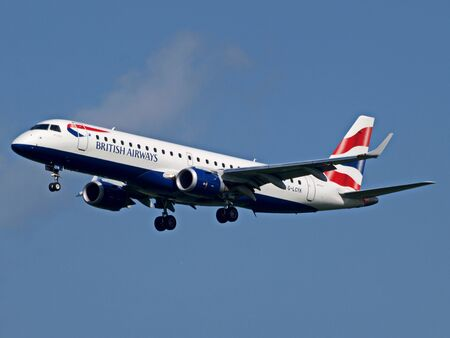 View of a British Airways passenger plane up in the sky 스톡 콘텐츠