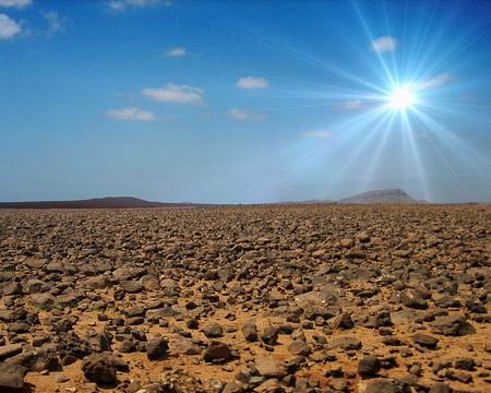 Rock desert on the island of Boa Vista, Cape Verde