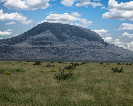 View of the Otero Mesa landscape with the Alamo Mountain in the background - New Mexico, USA
