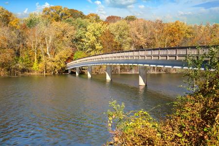 Theodore Roosevelt Island bridge in late autumn, Washington, DC. Stock Photo