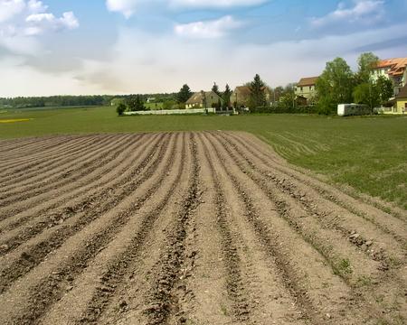 Plowed field in the Kladno District, Czech Republic