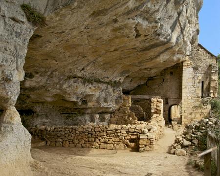 Ruins of the medieval village of La Madeleine - Dordogne, France.