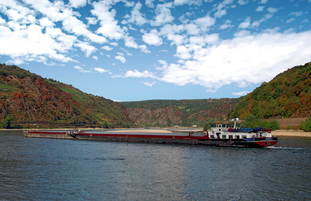 Barge on the Rhine River in Germany