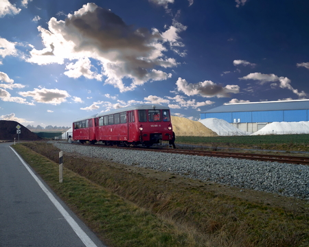 Diesel railway car on a  track close to the port in Vierow, Germany