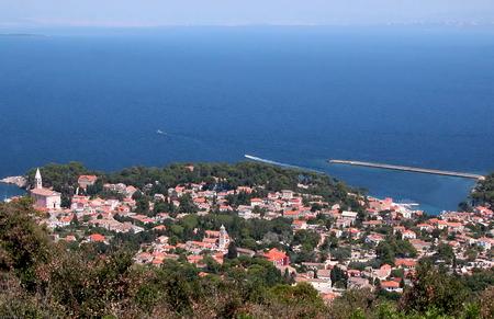 Aerial view of Veli Lošinj, a village on the island of Lošinj in Primorje-Gorski Kotar County, western Croatia
