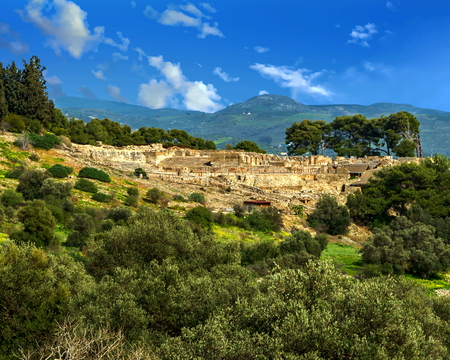 Archaeological site at modern Phaistos, a municipality in south central Crete, Greece Stock Photo