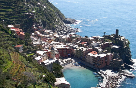 Aerial view of Vernazza, a town in Liguria, Italy