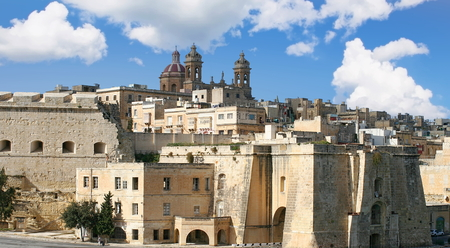 Fortified walls of the city of Senglea in the South Eastern Region of Malta Stock Photo