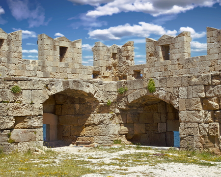 A partial view of the defensive structures within the fortifications of Rhodes, Greece