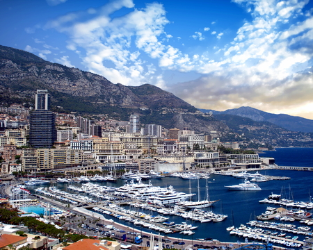 View of Monaco Harbor and portions of Monte Carlo Stock Photo