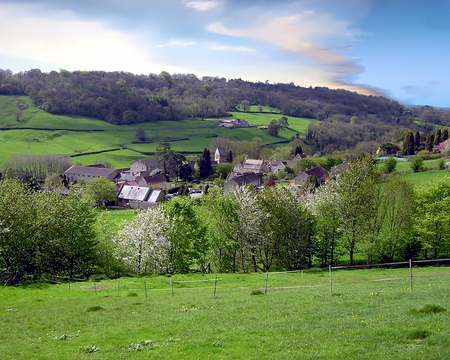 Village of Monkton Combe located north of Somerset, England