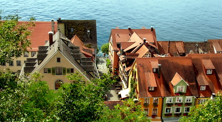 Overlooking the roofs of Meersburg, Lake Constance, Germany Editorial