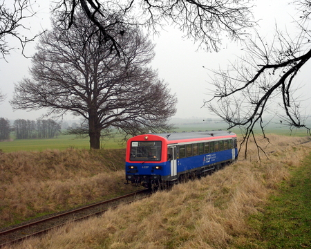 A charter train traveling along the Neubrandenburg-Friedland route in Germany.