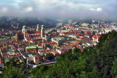 Panoramic view of Passau, Germany Stock Photo