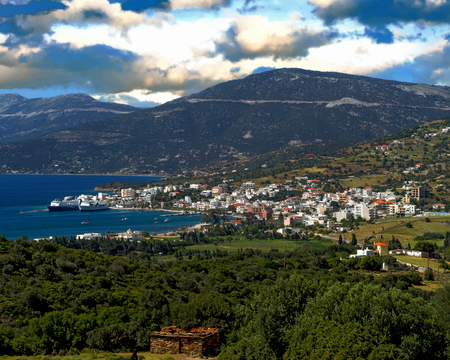 View of the village of Marmari in the southern region of Euboea, Greece Stock Photo