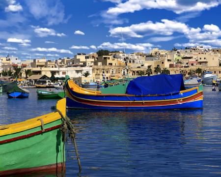 Fishing boats anchored in Marsaxlokk, Malta