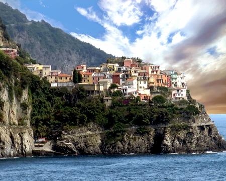 Coastal view of the town of Manarola - Liguria, Italy