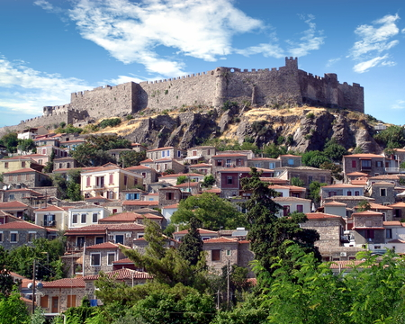Houses situated on a hillside in Molivos, Greece